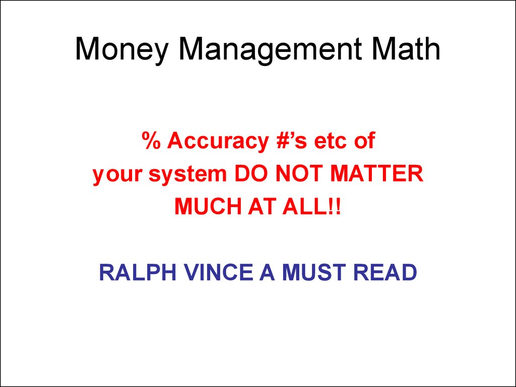 Money Management Math
