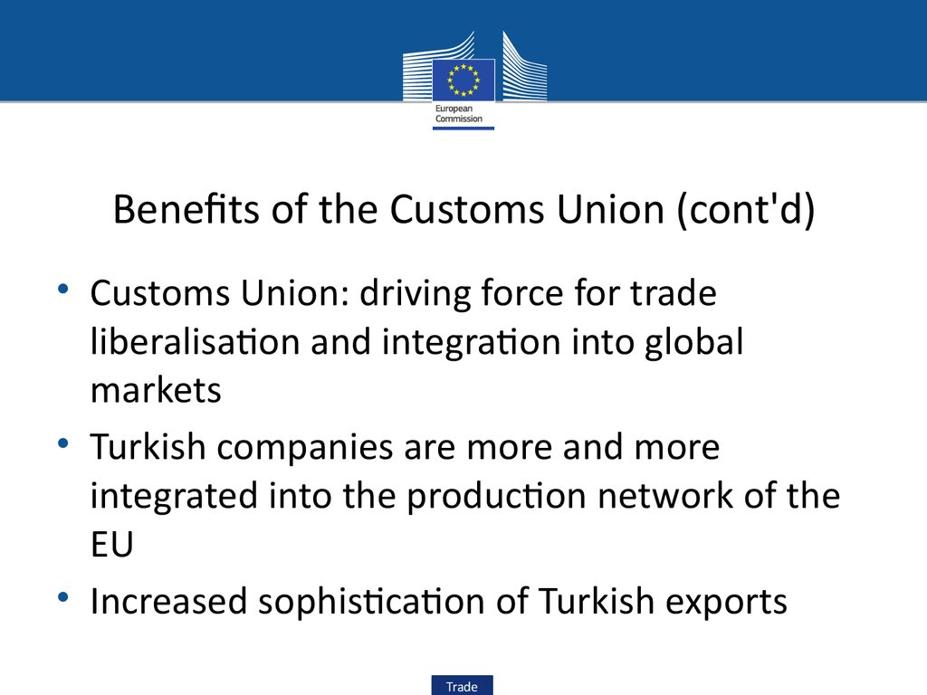 Benefits of the Customs Union (cont'd)