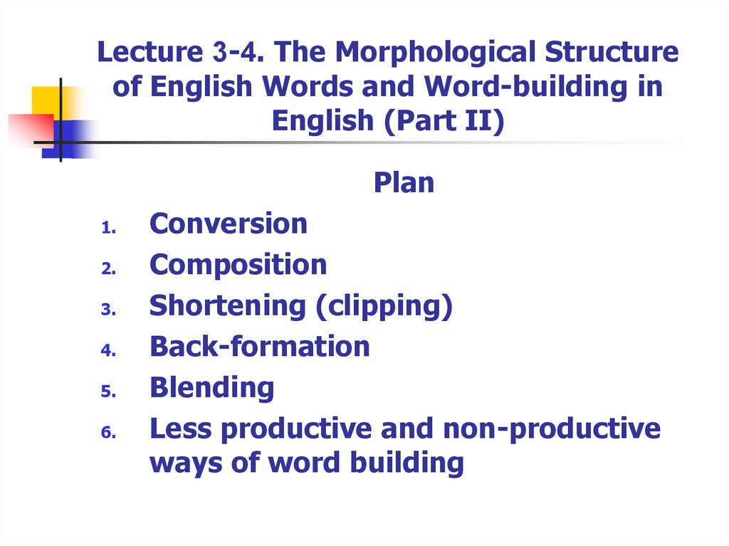 Lecture 3-4. The Morphological Structure of English Words and Word-building in English (Part II)