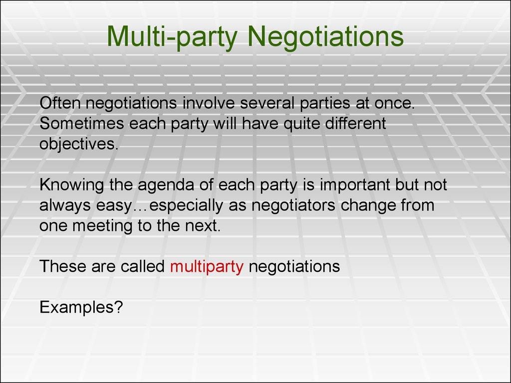 multi party negotiation case study