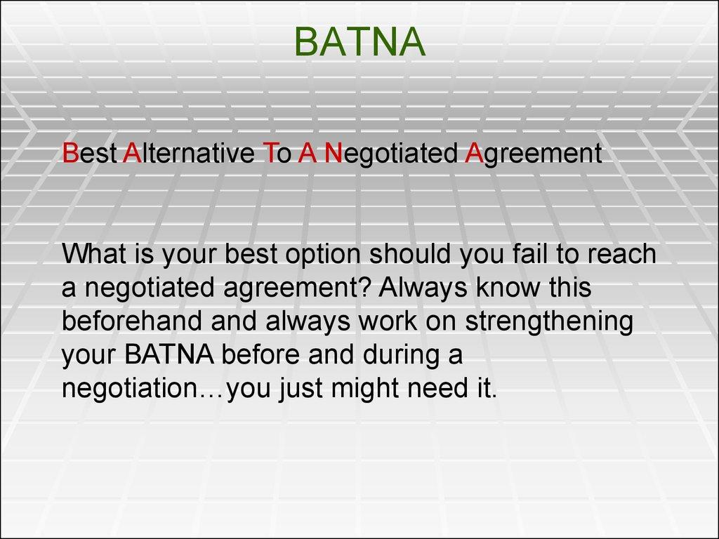 negotiation and batna