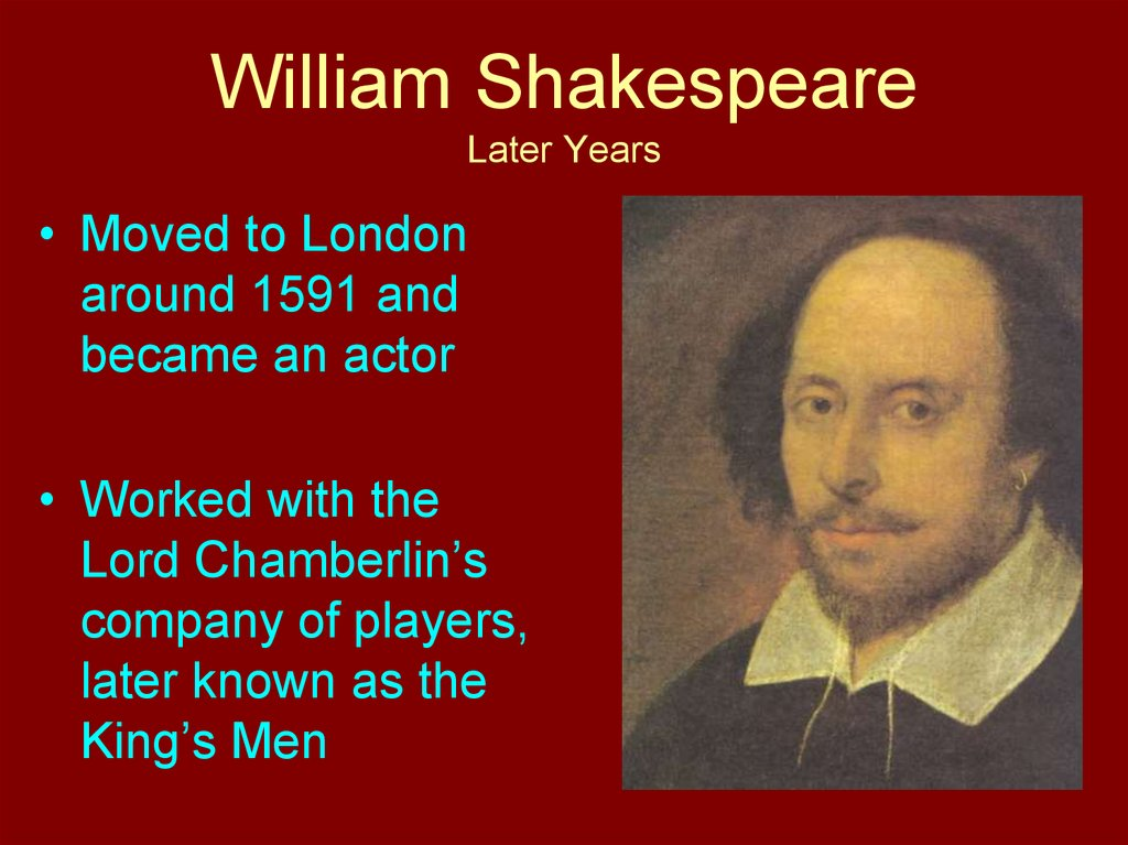 William Shakespeare Later Years