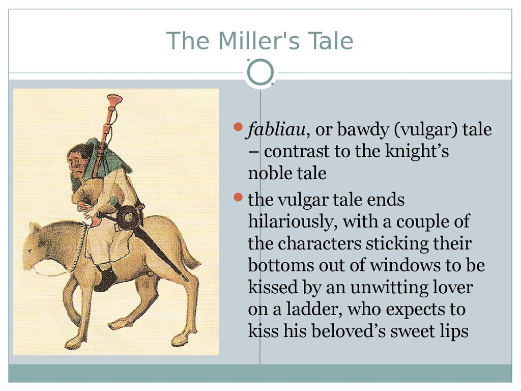 a literary analysis of the main characters in the millers tale Literary tools you may choose to examine (in book ii of a tale of two cities): figurative language —metaphor, simile, etc—this language is used to characterize the sensibility and understanding of characters as well as to establish the significance of theme and.