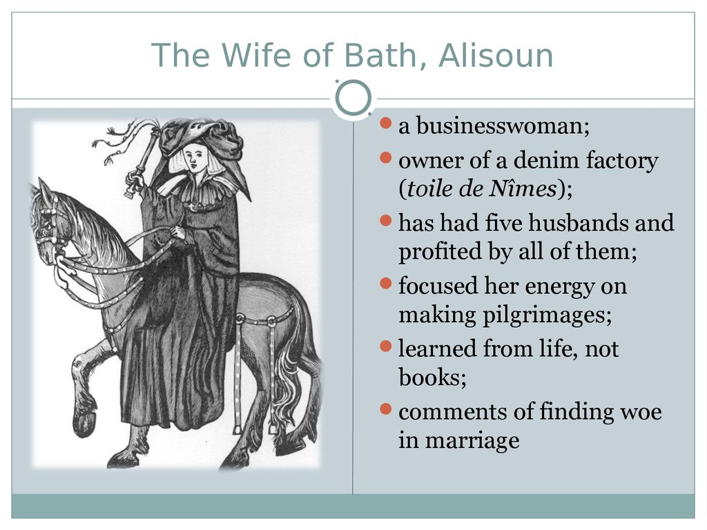 the wife of bath This is a story from the canterbury tales i: modern verse translation collection chaucer's greatest work, written towards the end of the fourteenth century, paints a brilliant pi.