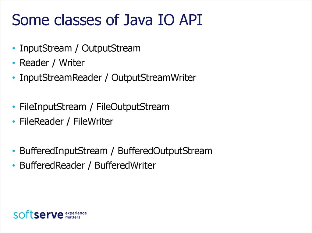 Some classes of Java IO API
