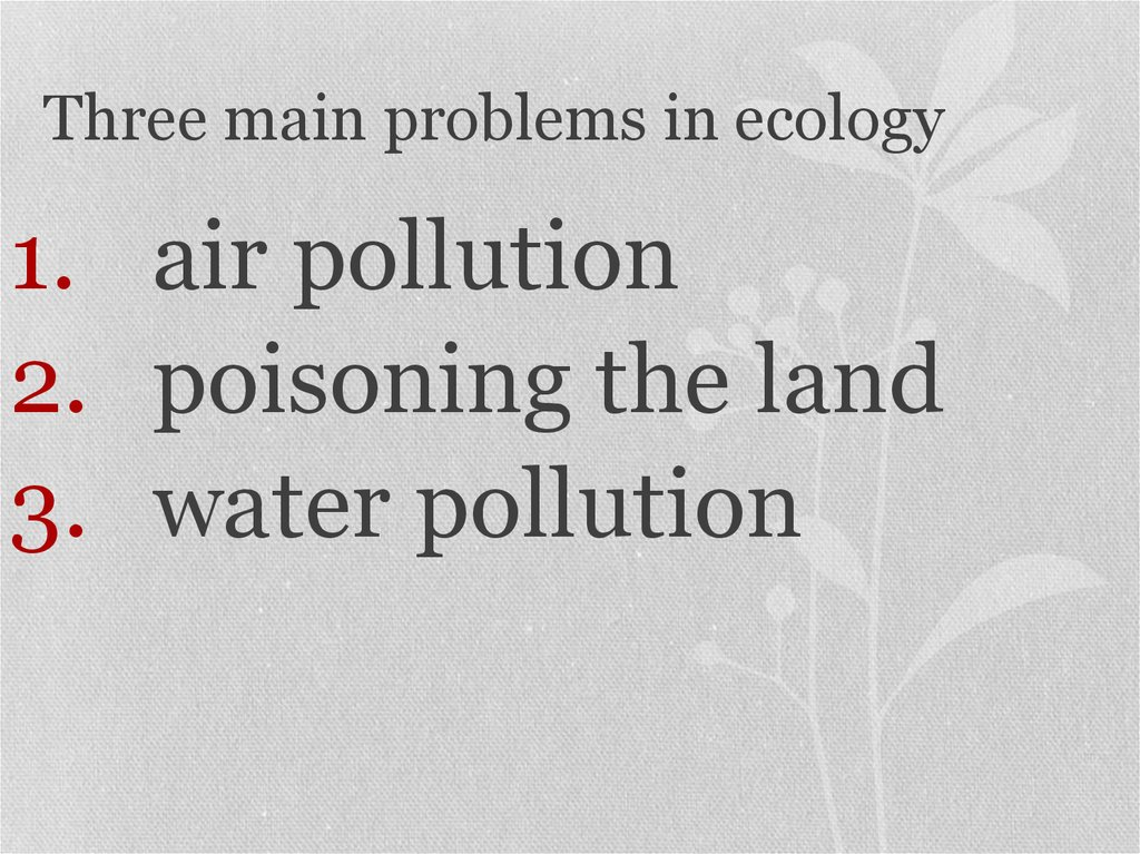 Three main problems in ecology