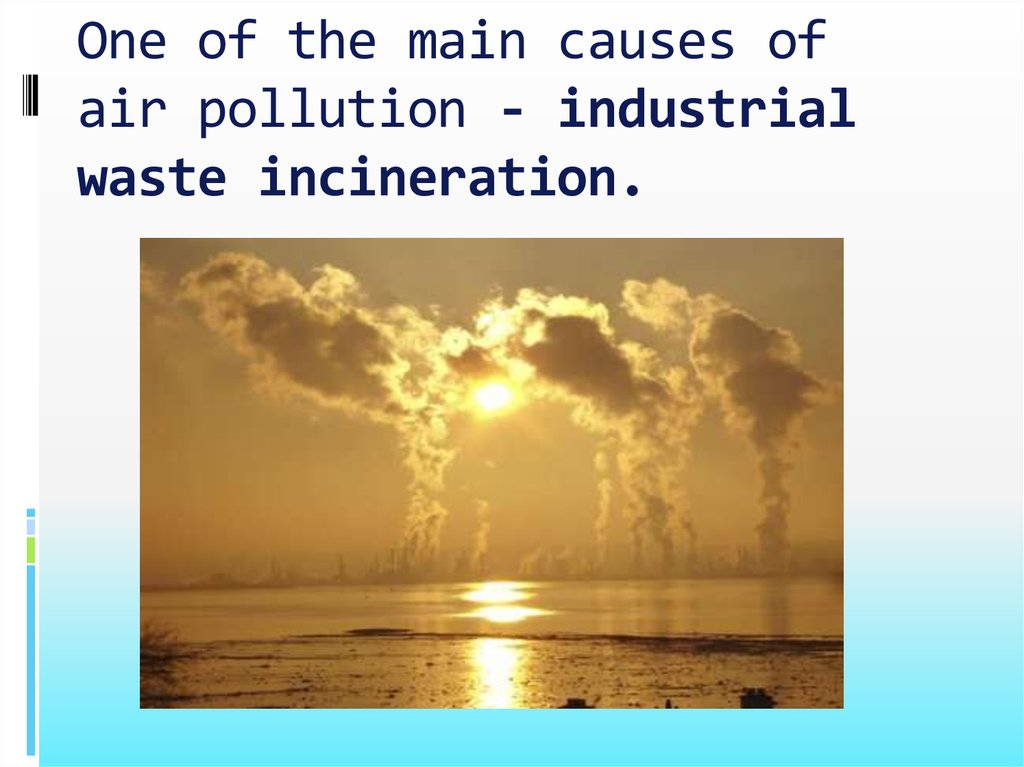One of the main causes of air pollution - industrial waste incineration.