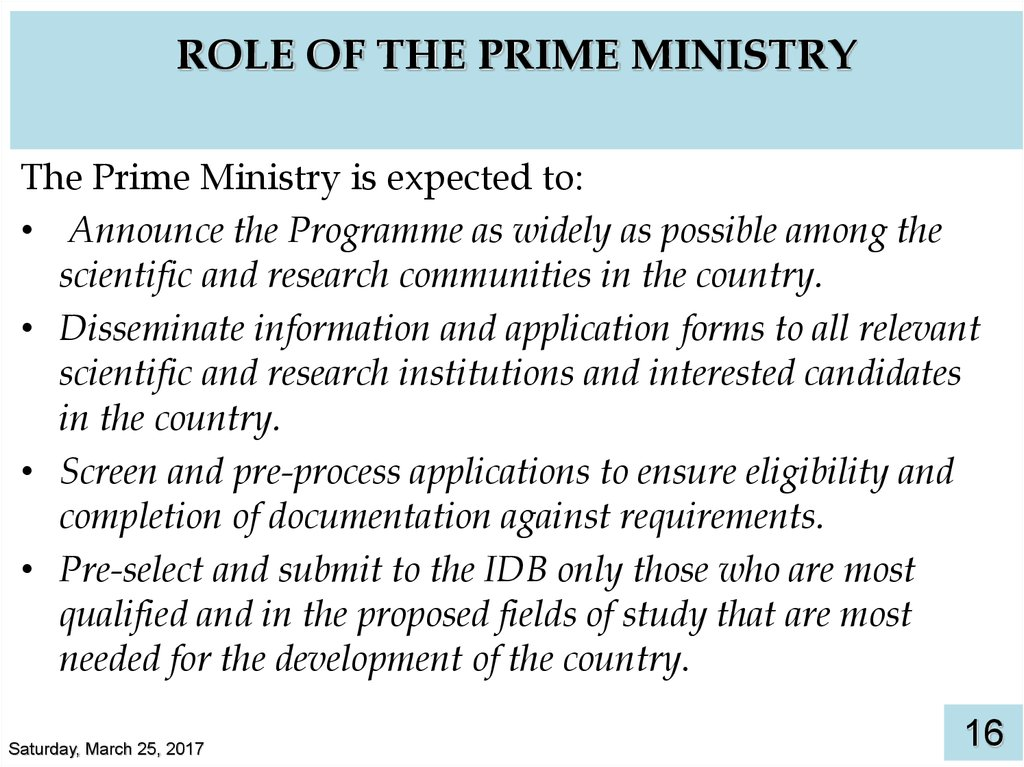 ROLE OF THE PRIME MINISTRY