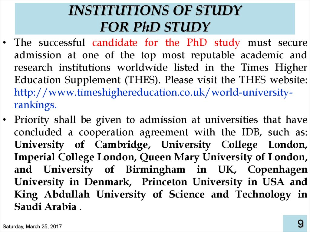INSTITUTIONS OF STUDY FOR PhD STUDY