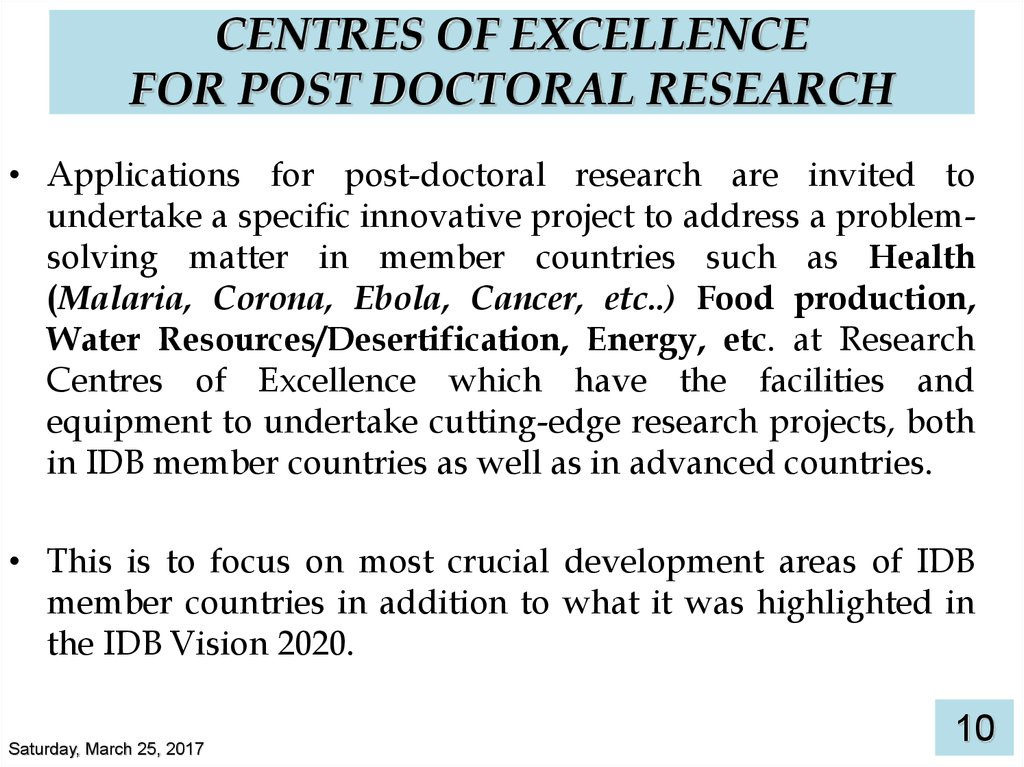 CENTRES OF EXCELLENCE FOR POST DOCTORAL RESEARCH