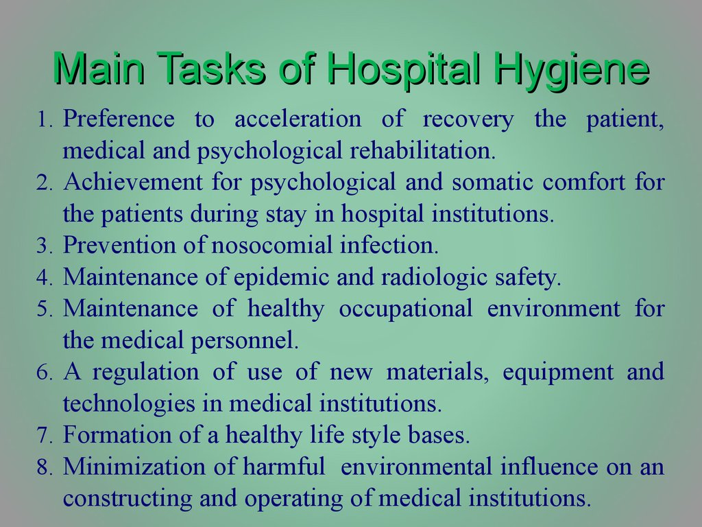 Hygiene of medicalpreventive establishments - online