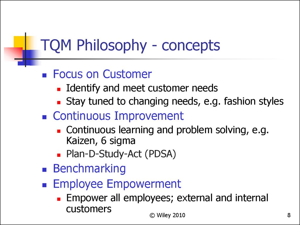 TQM Philosophy - concepts