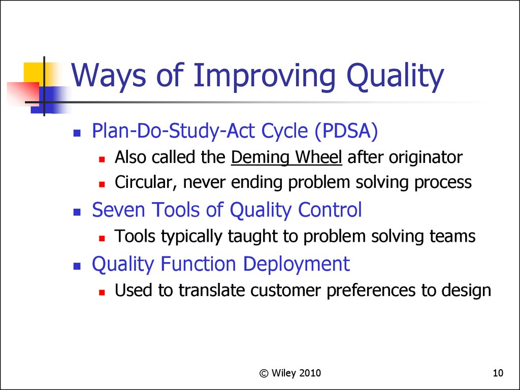Ways of Improving Quality