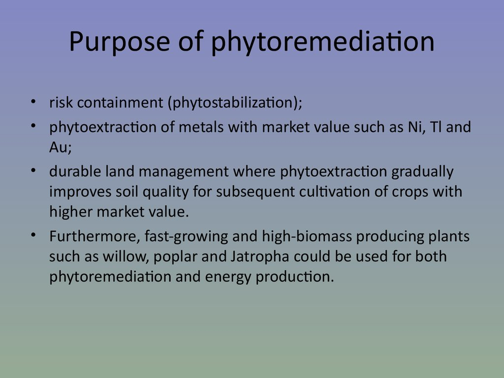 Purpose of phytoremediation