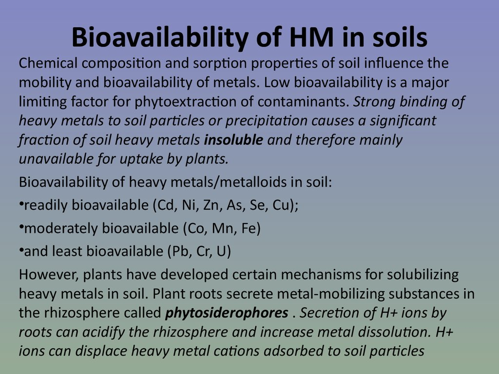 Bioavailability of HM in soils