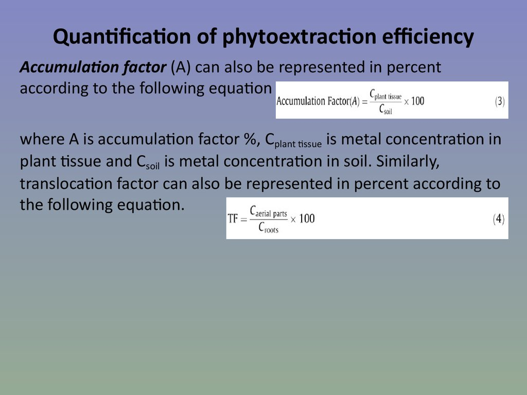 Quantification of phytoextraction efficiency