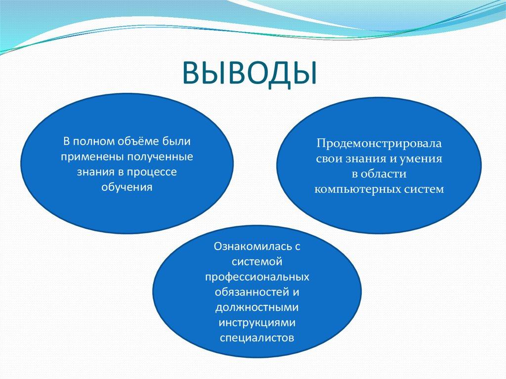 Отчет по производственной практике в Центре профессиональной   практике Индивидуальное задание ВЫВОДЫ
