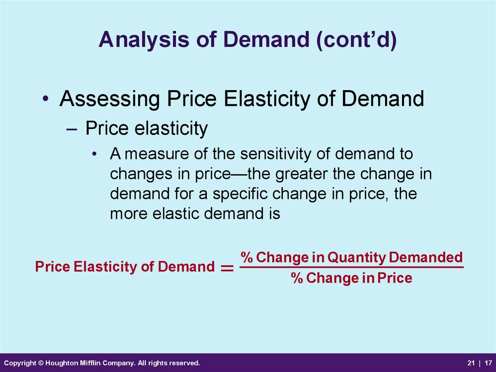 Analysis of Demand (cont'd)