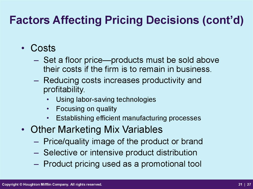 Factors Affecting Pricing Decisions (cont'd)