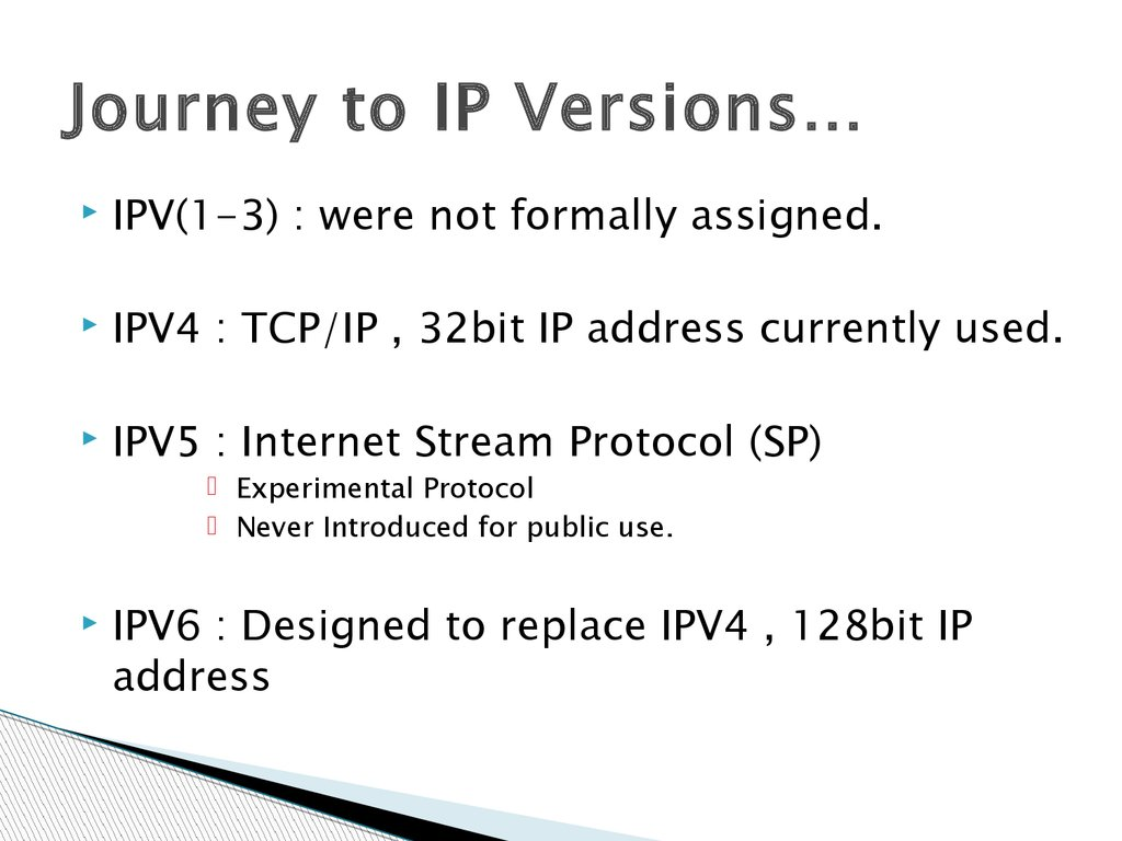 Journey to IP Versions…