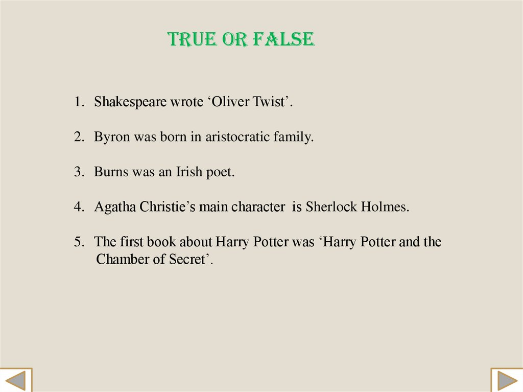 famous british writers презентация онлайн shakespeare wrote oliver twist 2 byron was born in aristocratic family 3 burns was an irish poet 4 agatha christie s main character is sherloсk