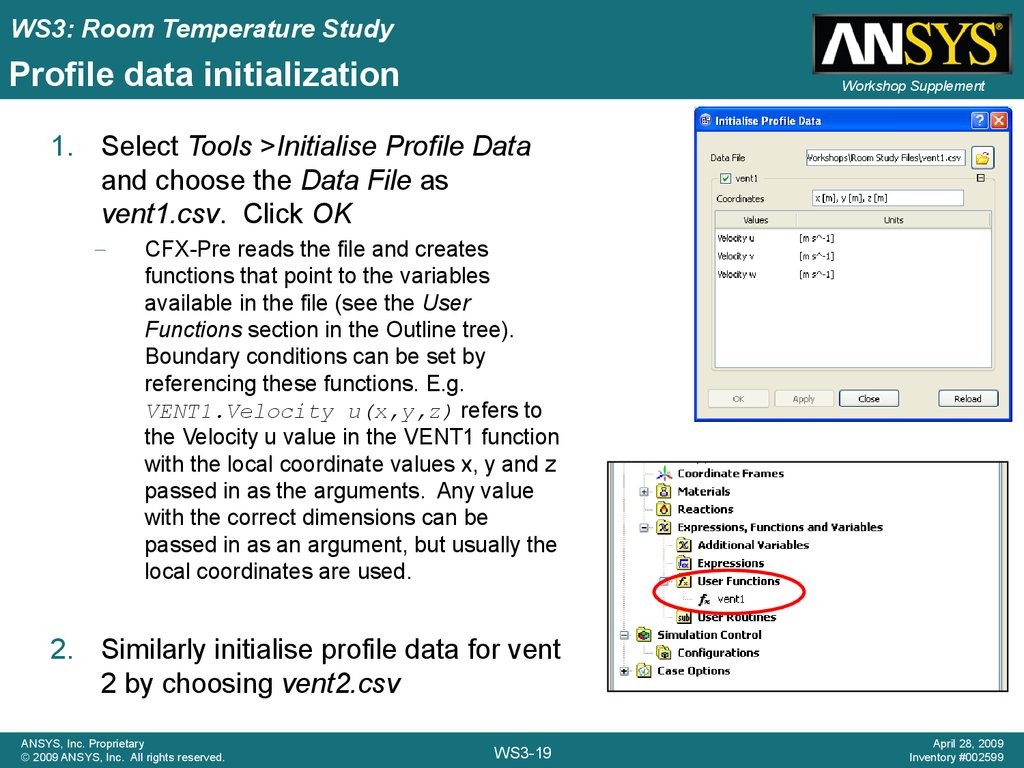 Profile data initialization