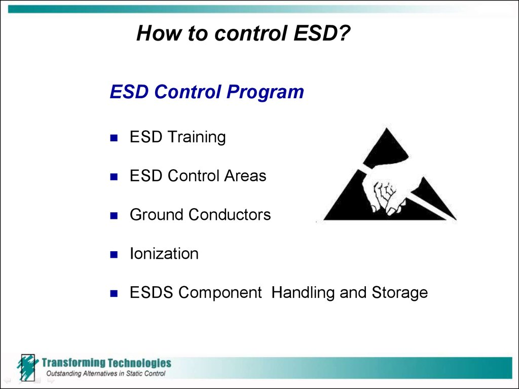 How to control ESD?