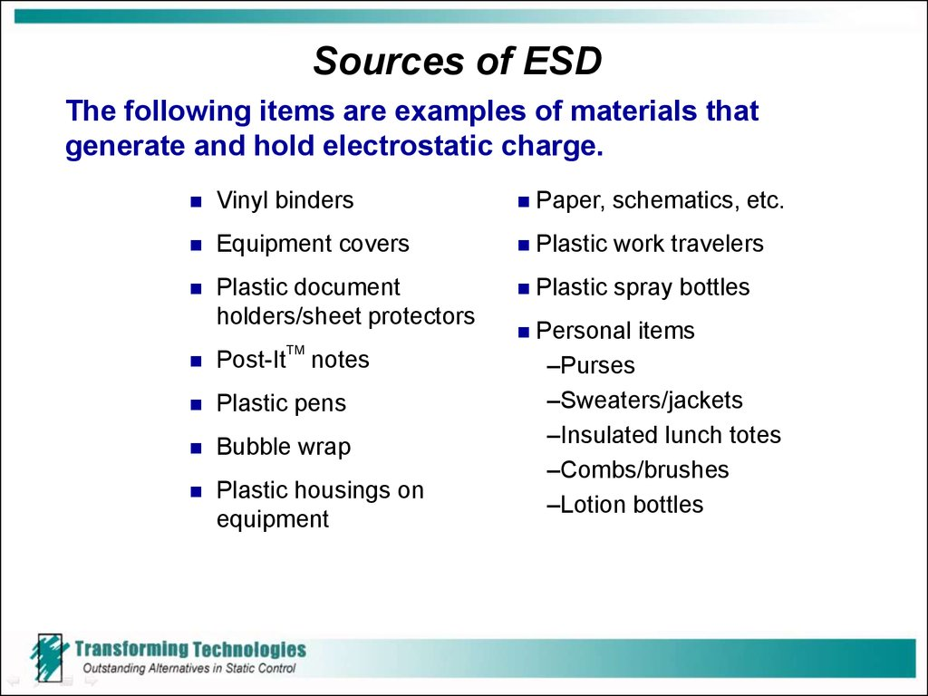 Sources of ESD