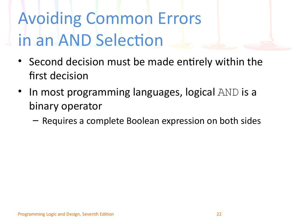 Avoiding Common Errors in an AND Selection