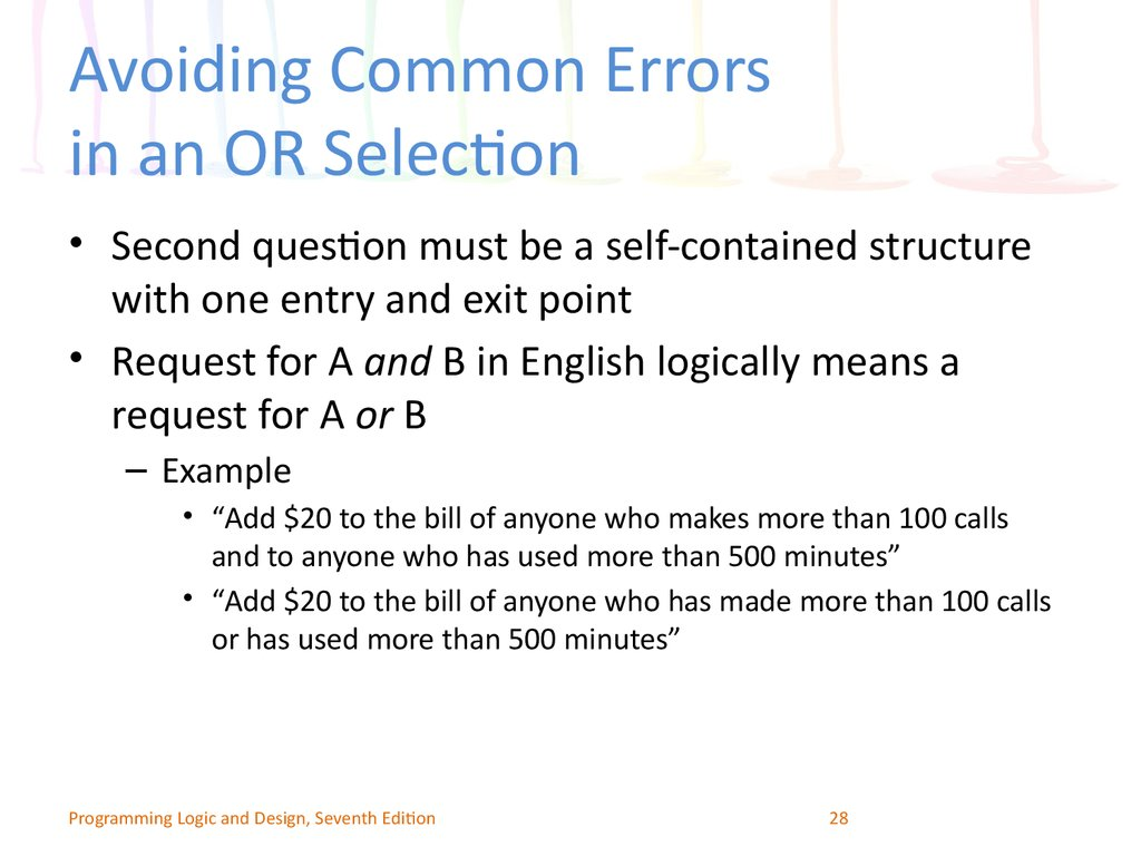 Avoiding Common Errors in an OR Selection