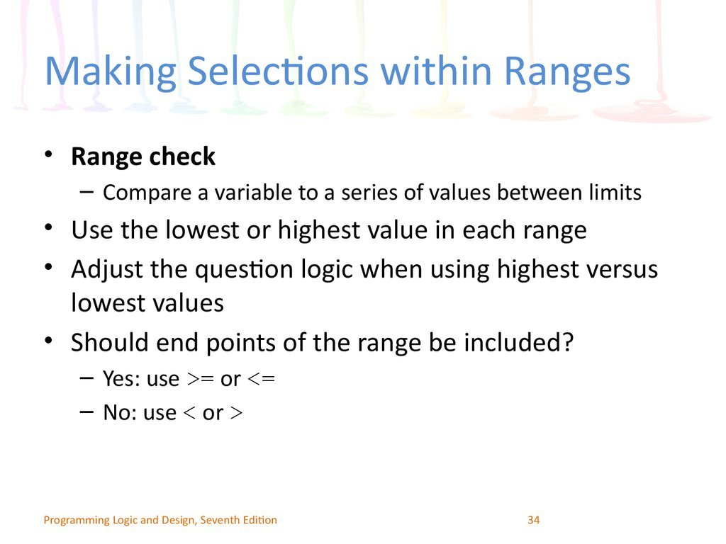 Making Selections within Ranges