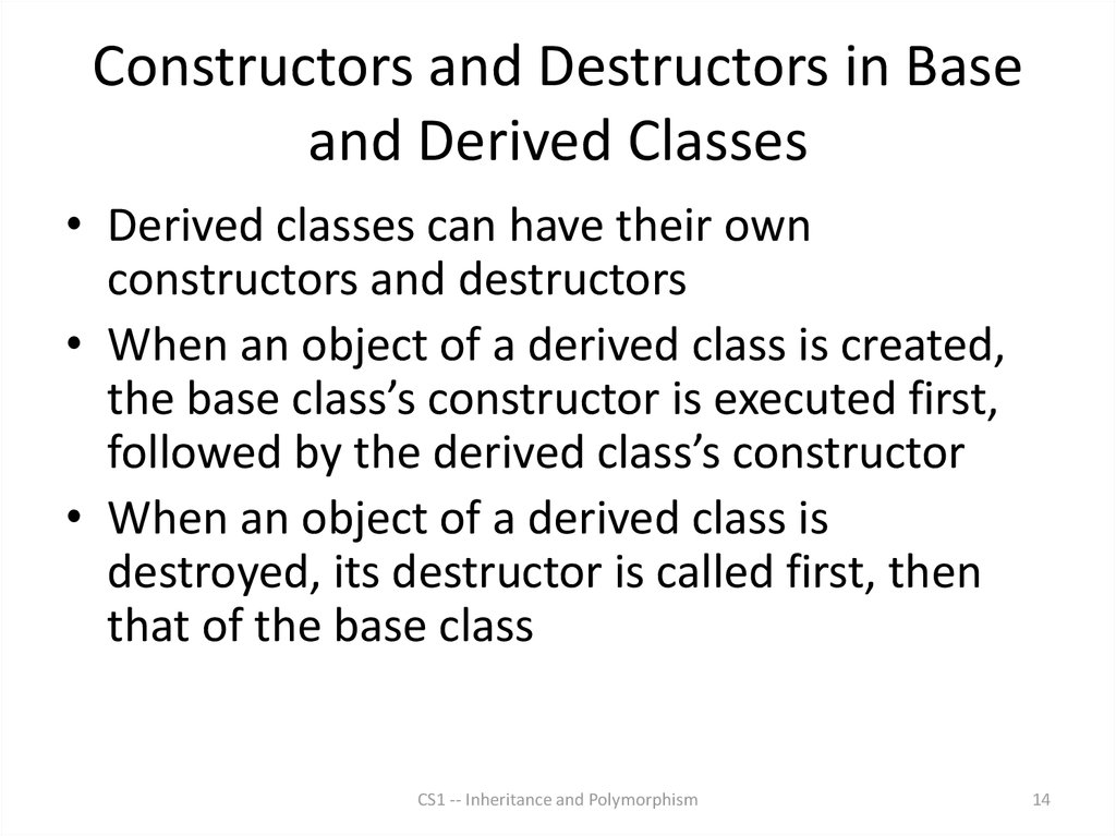 Constructors and Destructors in Base and Derived Classes
