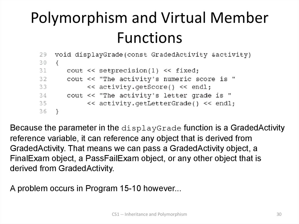 Polymorphism and Virtual Member Functions