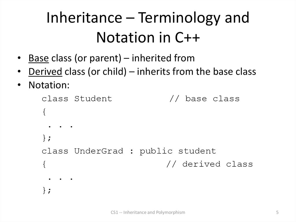 Inheritance – Terminology and Notation in C++