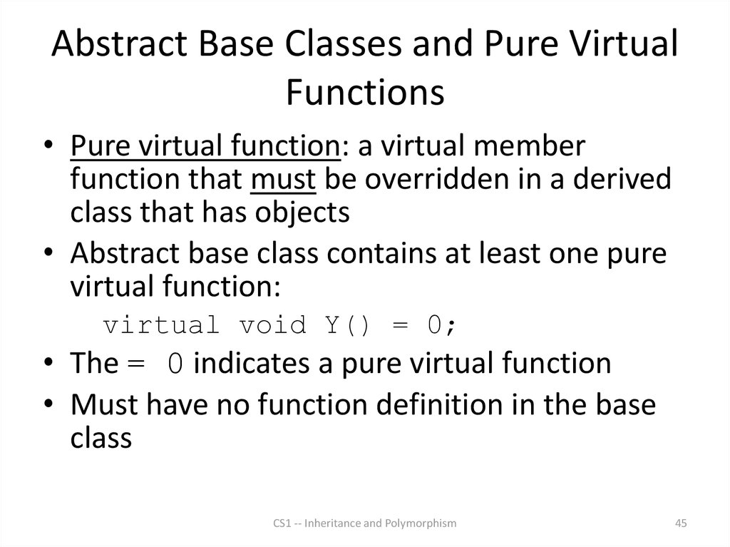 Abstract Base Classes and Pure Virtual Functions