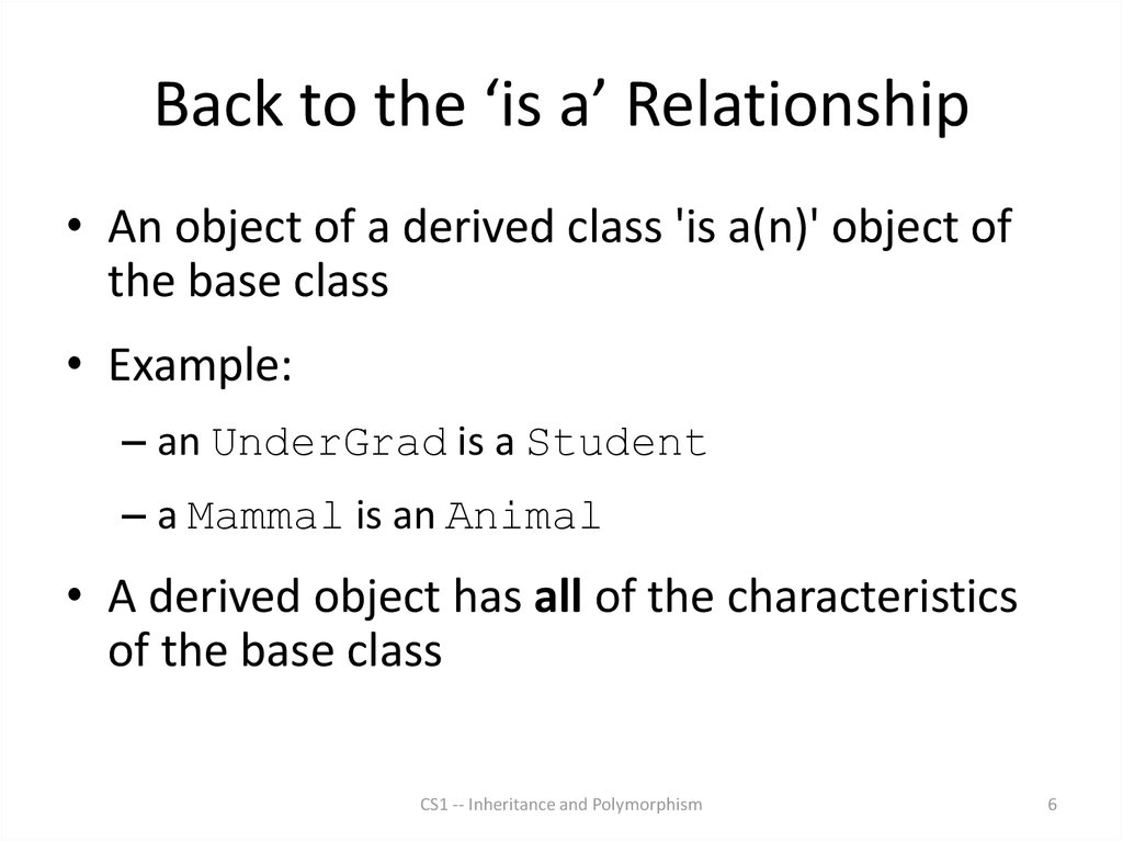 Back to the 'is a' Relationship