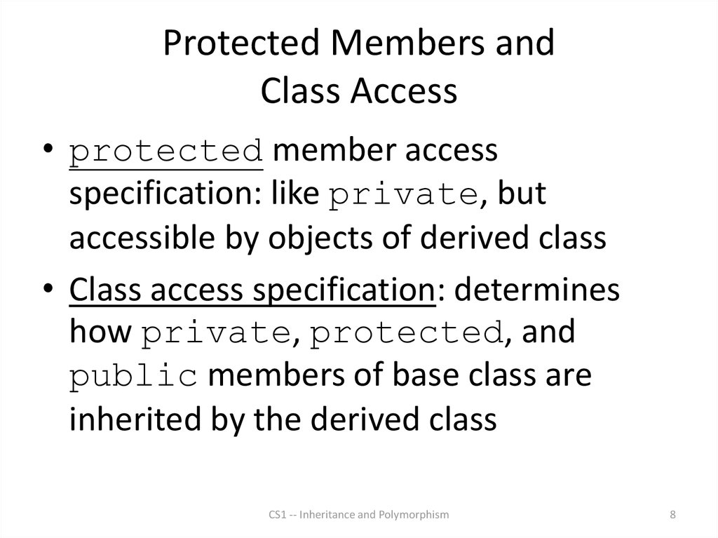 Protected Members and Class Access