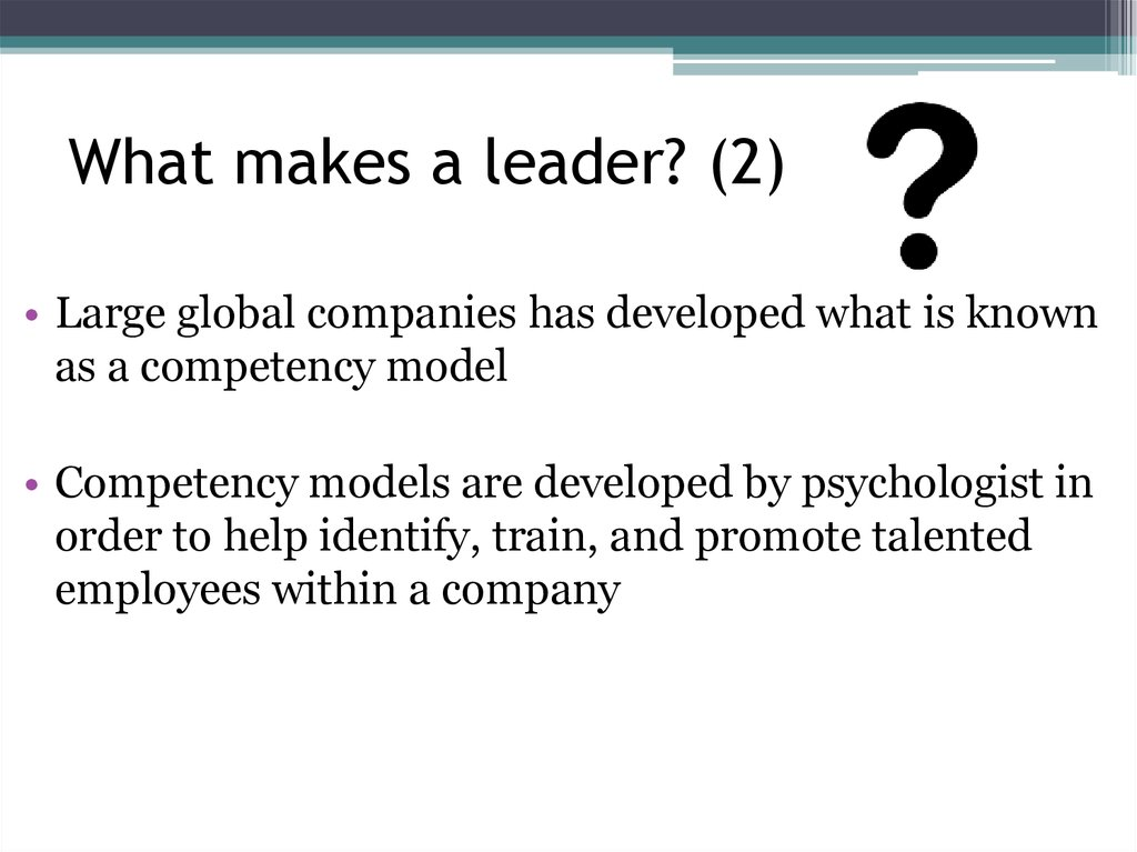 What makes a leader? (2)