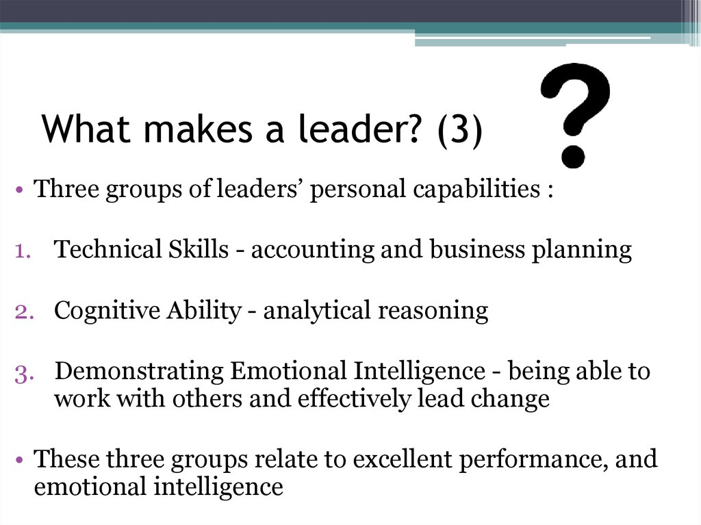 What makes a leader? (3)