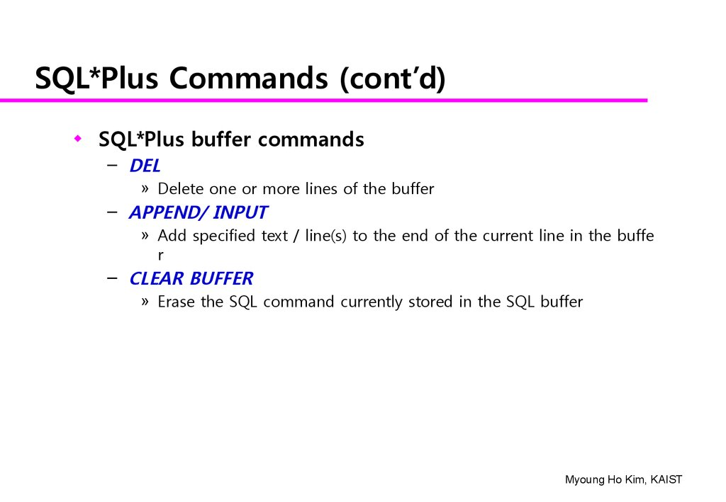 An Exercise of SQL Using SQL* Plus - online presentation