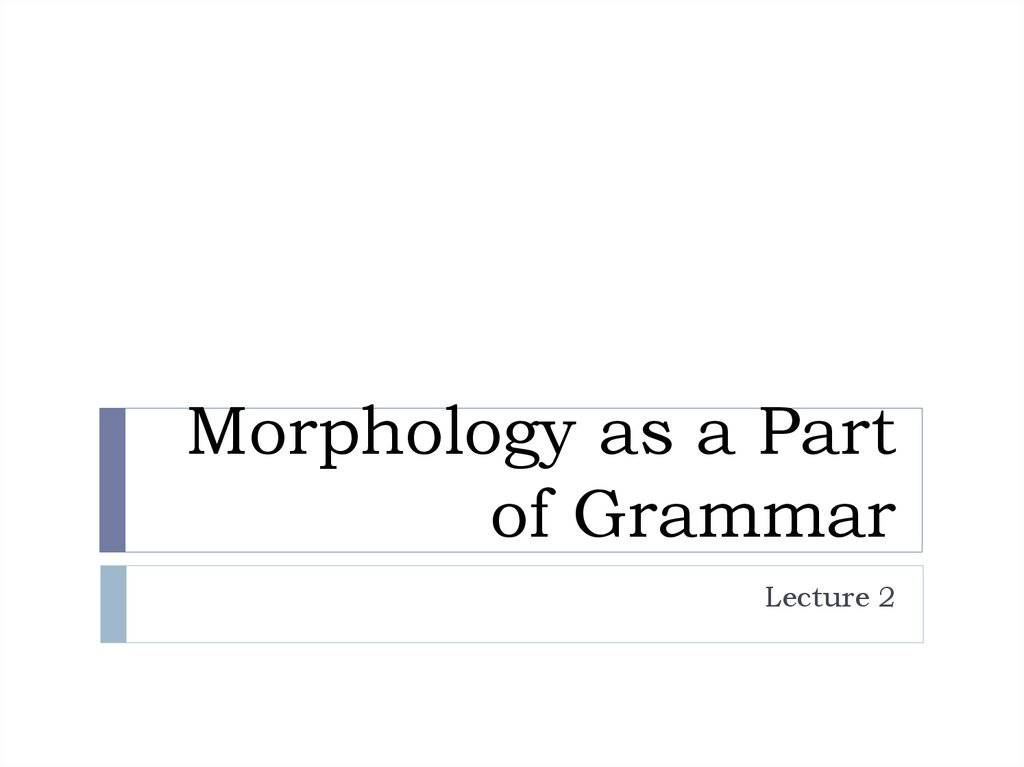 Morphology as a Part of Grammar