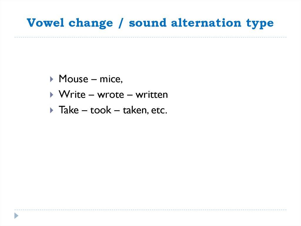 Vowel change / sound alternation type