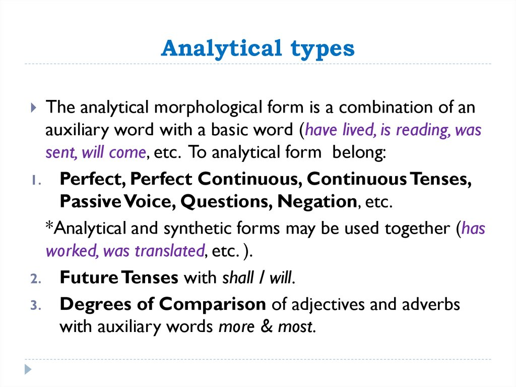 Analytical types