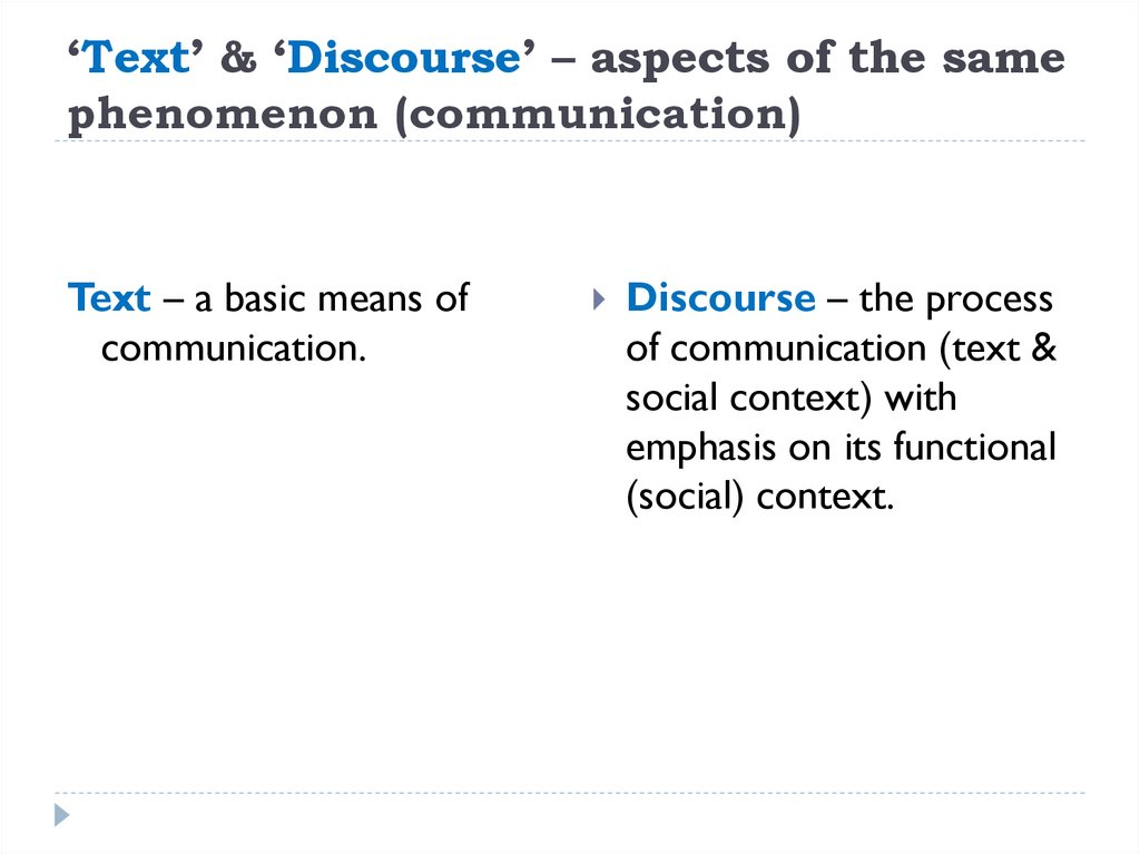 'Text' & 'Discourse' – aspects of the same phenomenon (communication)