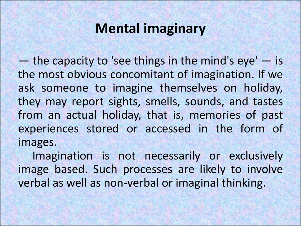 Mental imaginary