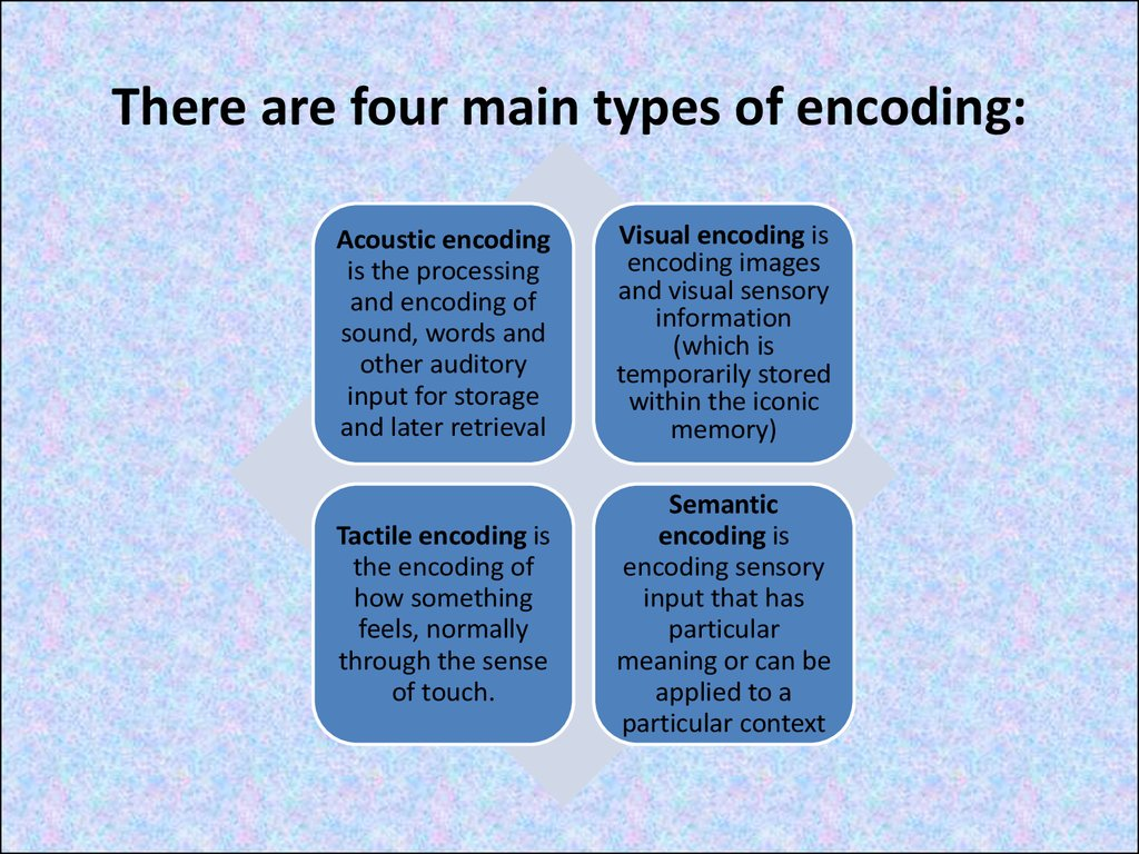 There are four main types of encoding: