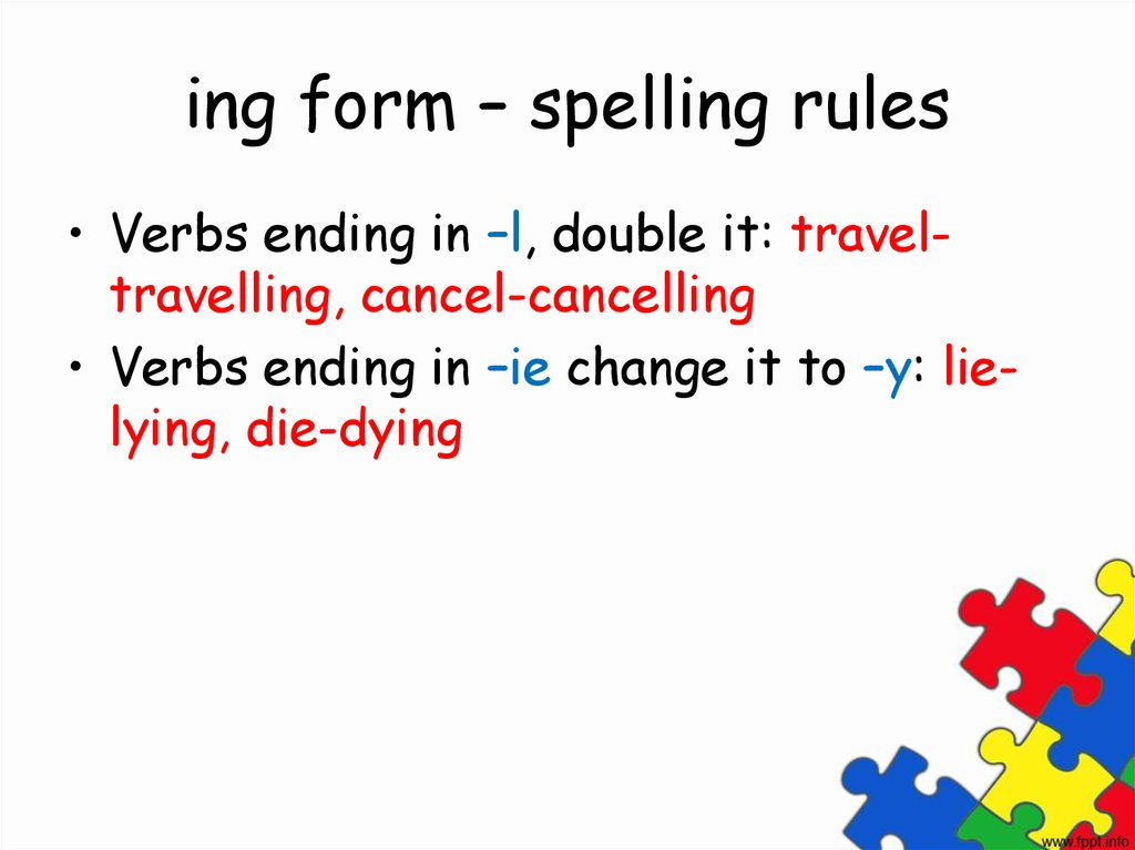 ing form – spelling rules