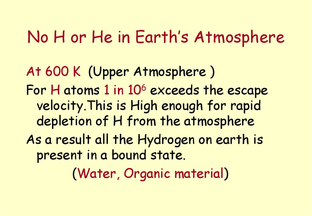 No H or He in Earth's Atmosphere