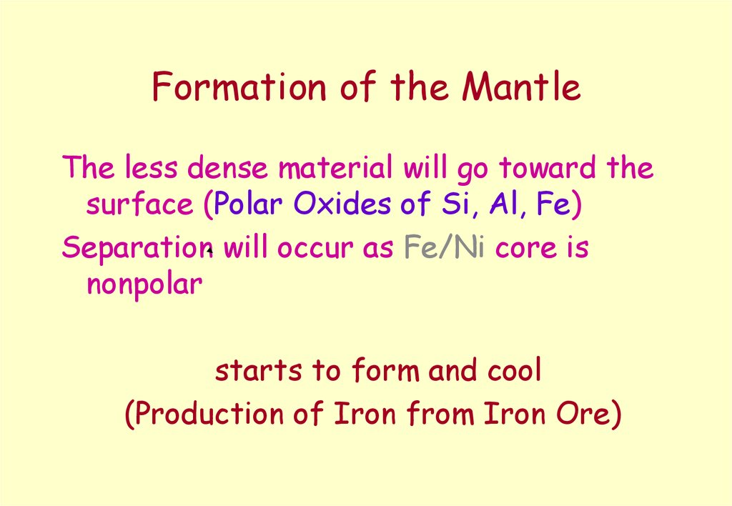 Formation of the Mantle