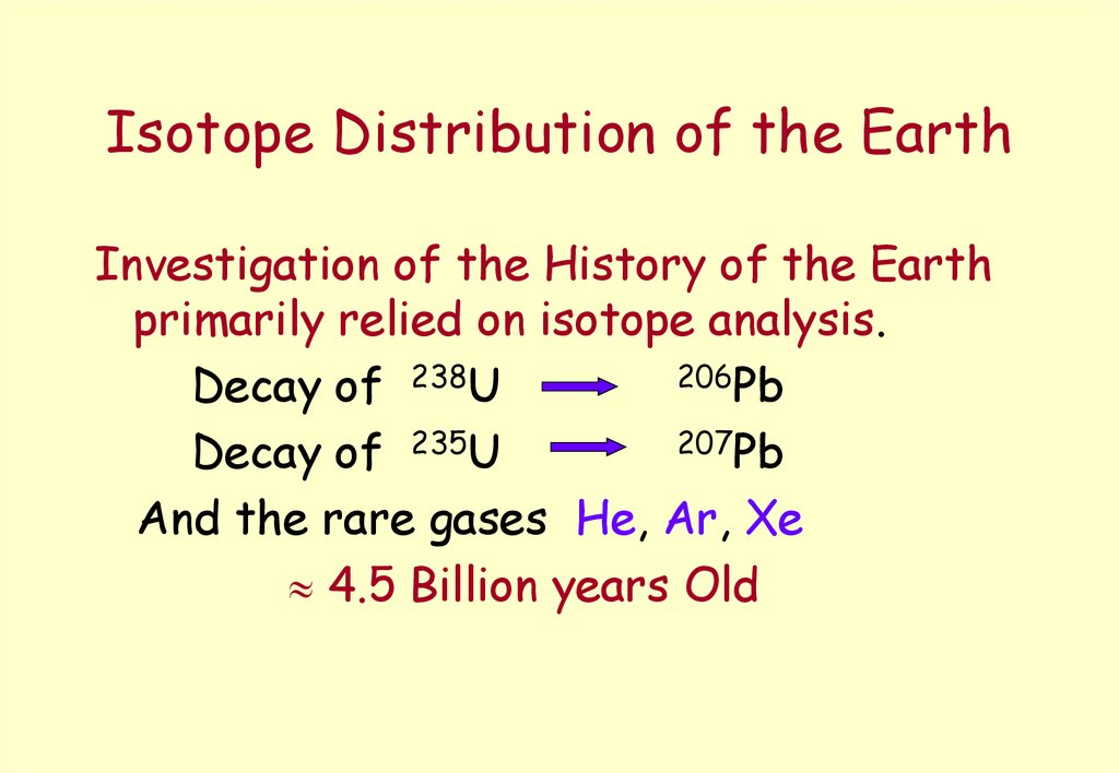 Isotope Distribution of the Earth